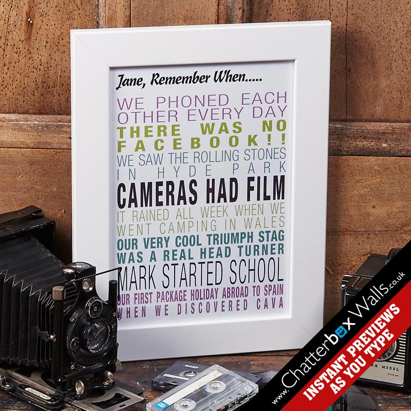 Custom Remember When Word Art Prints  Canvases Chatterbox Walls