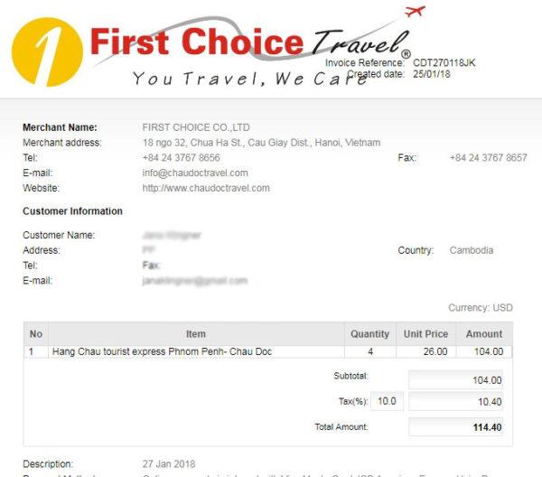 Chau Doc Travel Invoicing-steps to do ChauDocTravel Chau Doc