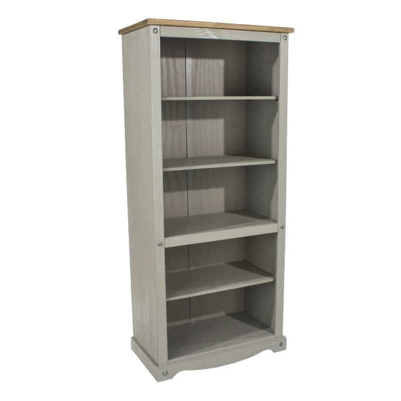 Corona Grey Washed Tall Bookcase Cheap Furniture