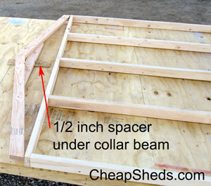 spacer under truss collar beam