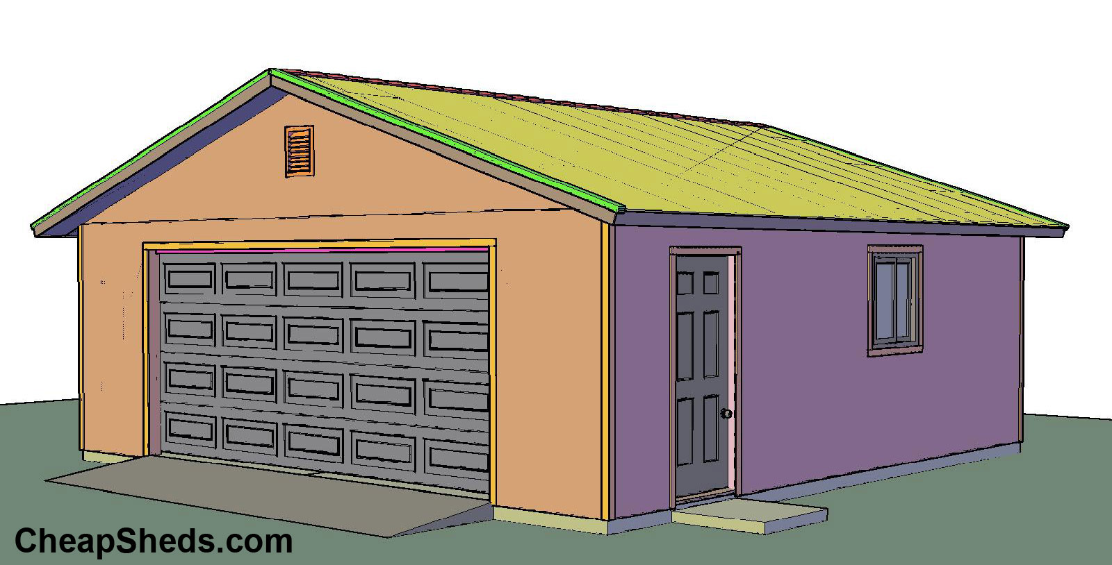 1 2 3 4 car garage blueprints for Gable roof garage