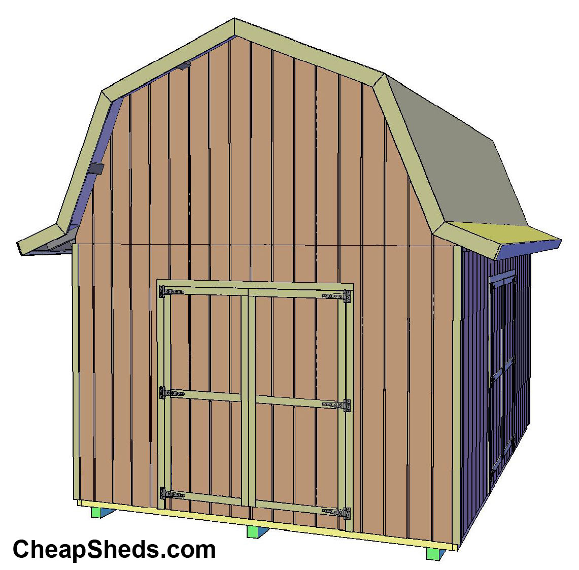 Tall gambrel barn style sheds for Barn architecture plans