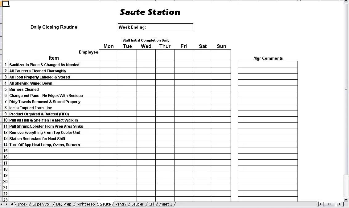 Kitchen Opening  Closing Duties - Chefs Resources - restaurant checklist template