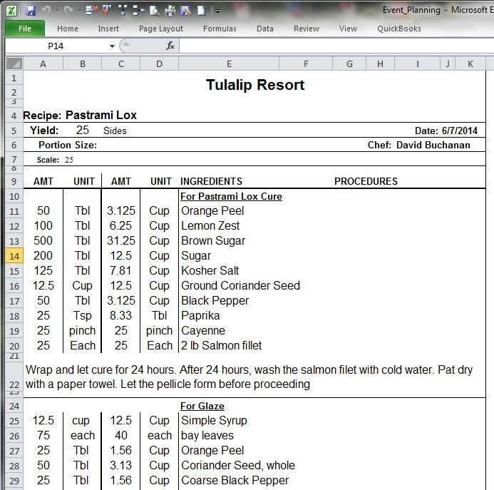 Using Excel for Event Planning - Chefs Resources - party planning schedule