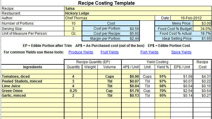 menu costings template