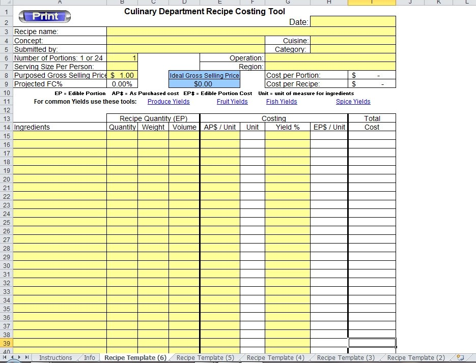 Excel Recipe Template for Chefs - Chefs Resources