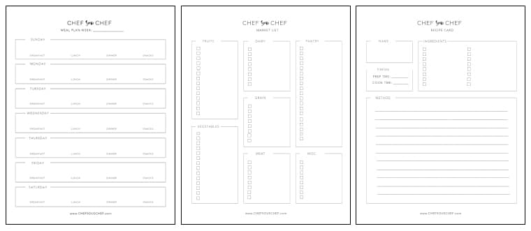 Meal Plan Template How to Plan, Shop  Cook Chef Sous Chef