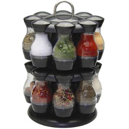 16 Jar Rotating Spinning Carousel Spice Herb Rack Jars