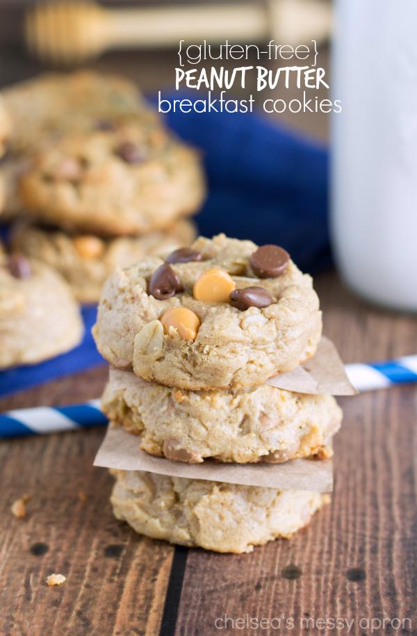Gluten Free} Peanut Butter Breakfast Cookies