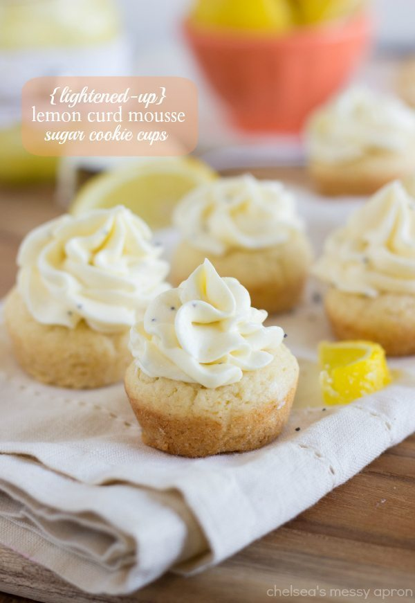 A lightened-up version of lemon curd mousse served inside a baked sugar cookie cup. This dessert is light, refreshing, and delicious!