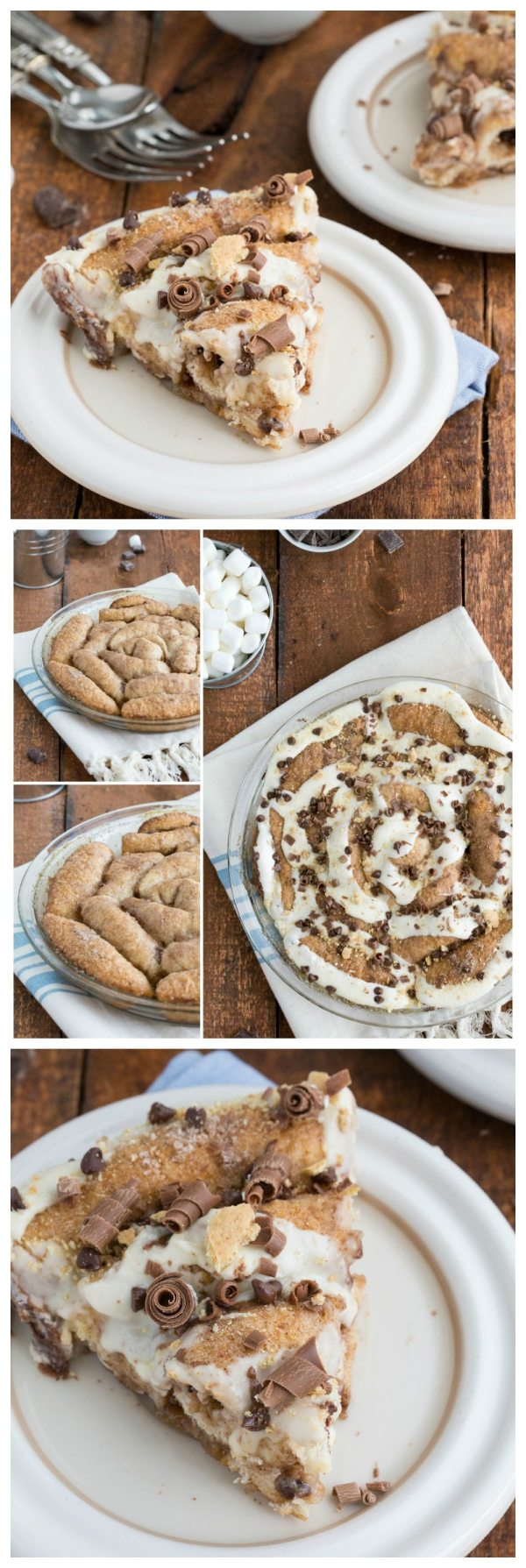 A 30-minute, no rising required S'mores-flavored cinnamon roll cake I via chelseasmessyapron I #cinnamonroll #smores #norising