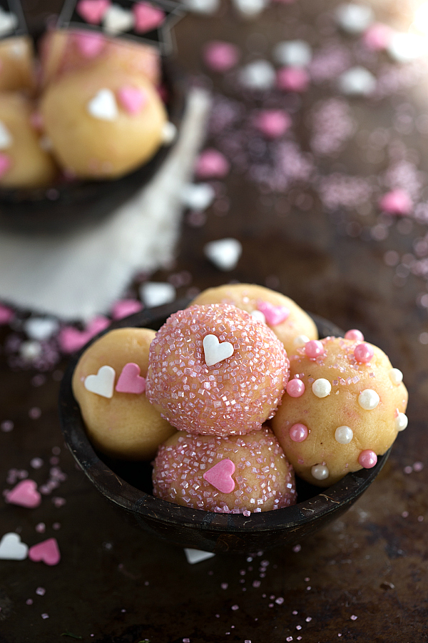 "No Bake Easy Sugar Cookie Bites - deliciously flavored from this ""secret"" ingredient"