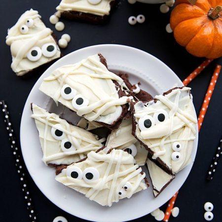 Mummy Brownie Batter Bark + Halloween Peeps Rice Krispies