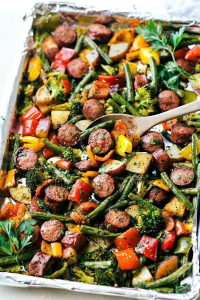 One Pan Healthy Sausage and Veggies - Chelsea's Messy Apron