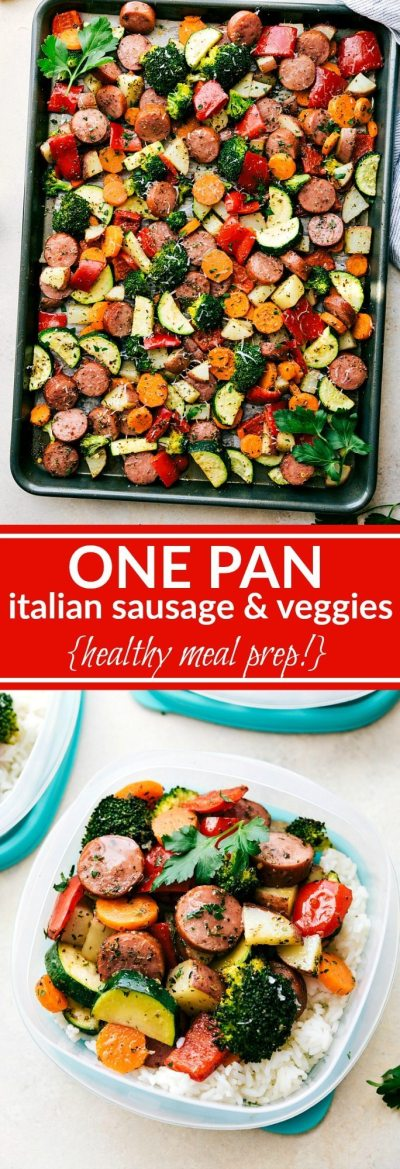 One Pan Healthy Italian Sausage & Veggies - Chelsea's Messy Apron