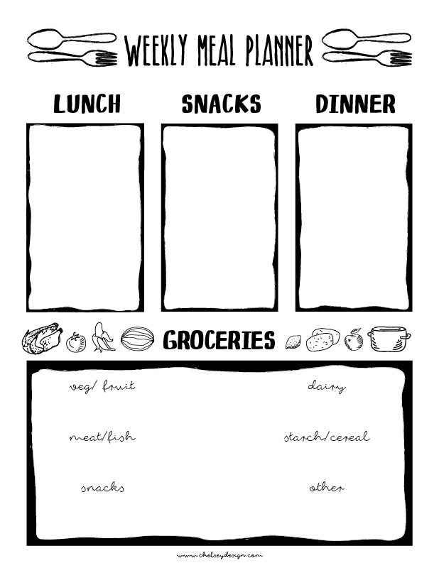 Rad Printable Meal Planner \u2022 Chelsey Design