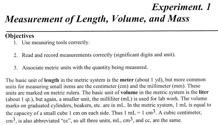 Experiment 1 Help - tools to measure volume