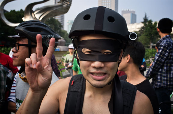Costumed Chengdu cyclist