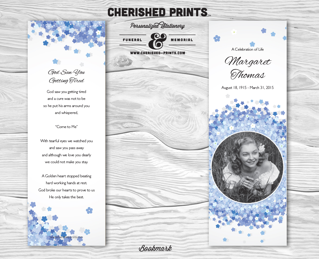 Cherished prints funeral and memorial stationery forget for Free memorial bookmark template download