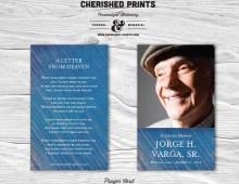 Modern Blue Stripped Texture Prayer Card for Memorials - Funerals, Memorial Card, Funeral Card