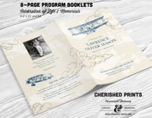 Vintage Airplanes Multi-Page Funeral Booklet Program for Memorials, Celebration of Life, Bulletin