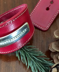Red Leather Crystal Half Cuff Wide Wrap Bracelet