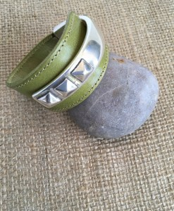 Light Olive Wide Leather Silver Rivet Cuff Bracelet
