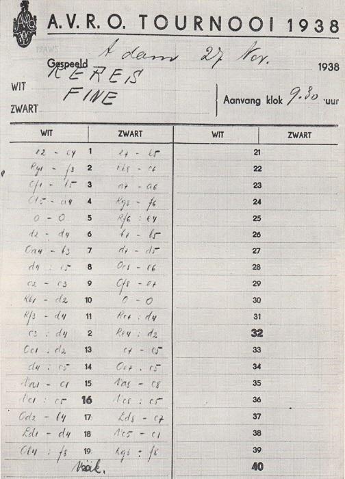 Chess Score-Sheets by Edward Winter