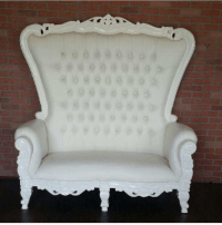 ROYAL THRONE LOVESEAT - WHITE/WHITE