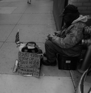 A homeless veteran on the streets of Chicago.