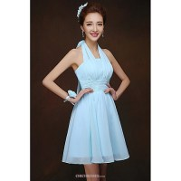 Short/Mini Bridesmaid Dress - Sky Blue Sheath/Column ...