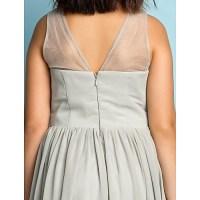 Floor-length Chiffon Junior Bridesmaid Dress - Silver A ...
