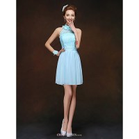 Short/Mini Bridesmaid Dress - Sky Blue Sheath/Column High ...