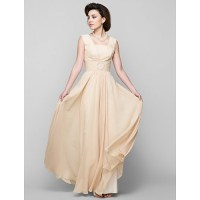 A-line Mother of the Bride Dress - Champagne Floor-length ...