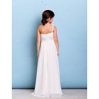 Floor-length Chiffon Junior Bridesmaid Dress - Ivory A ...