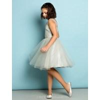 Knee-length Tulle Junior Bridesmaid Dress - Silver A-line ...