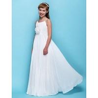 Floor-length Chiffon Junior Bridesmaid Dress - Ivory ...