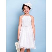 Knee-length Lace Junior Bridesmaid Dress - Ivory A-line ...