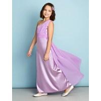 Ankle-length Chiffon / Charmeuse Junior Bridesmaid Dress ...