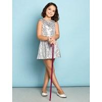 Short/Mini Sequined Junior Bridesmaid Dress - Silver A ...