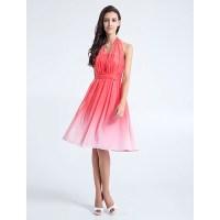Knee-length Chiffon Bridesmaid Dress - Watermelon Plus ...