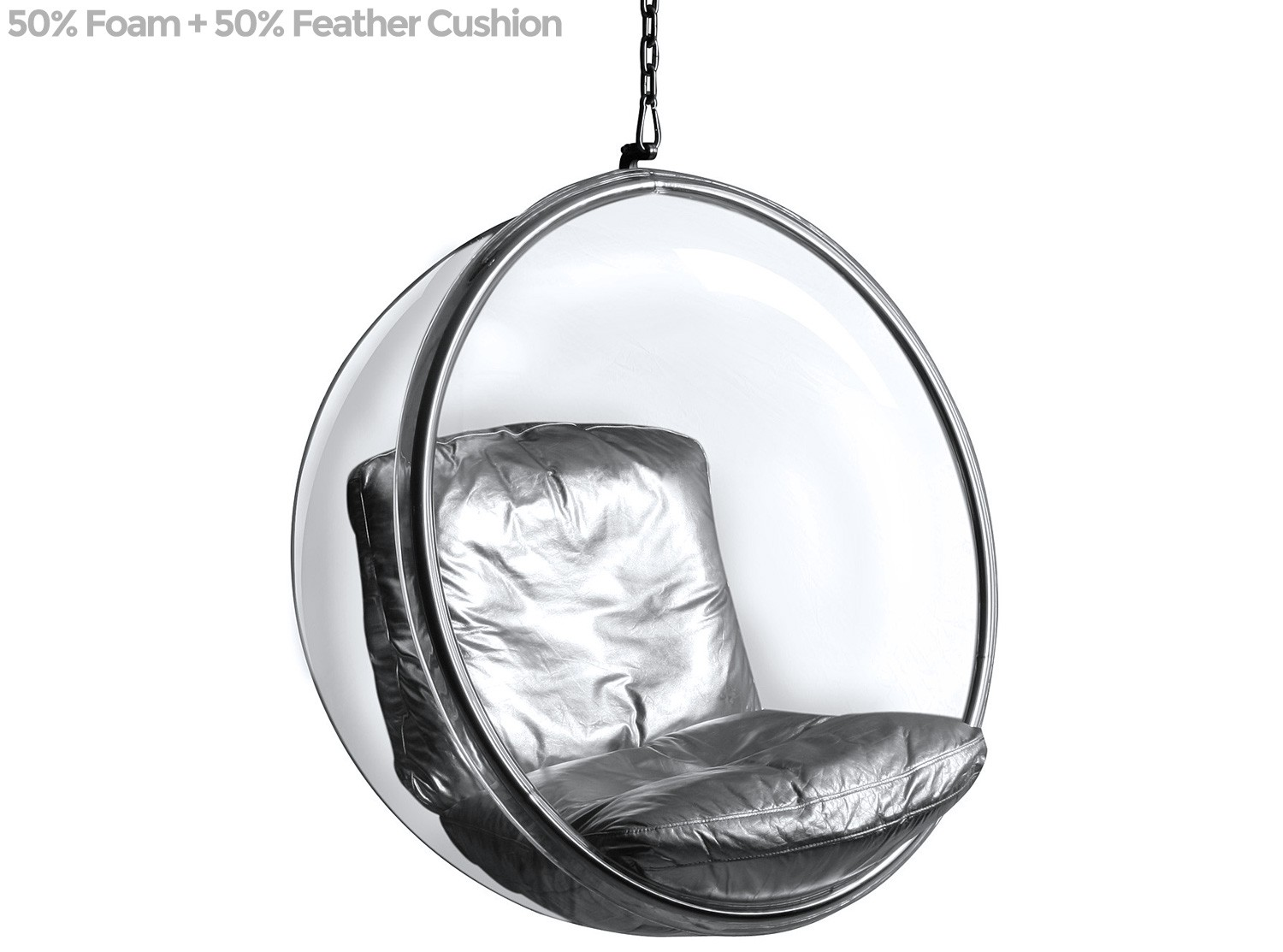 Bubble chair by eero aarnio platinum replica pictured with 50