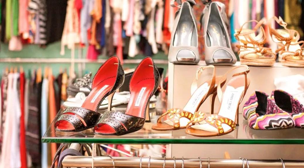 Shoes on a store shelf