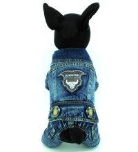 SELMAI Male Dog Outfits Denim Jacket Fleece Dog Coat ...