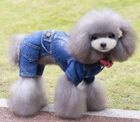 SELMAI Male Dog Outfits Denim Jacket Fleece Dog Coat ...