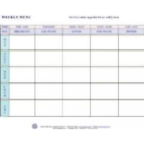 Weekly Menu - daycare meal plan