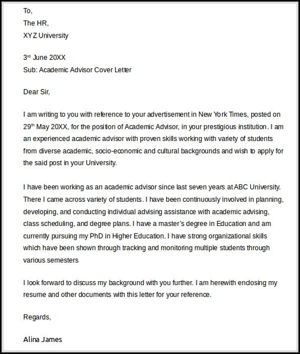 Academic Advisor Cover Letter Templates - Cover Letter  Resume