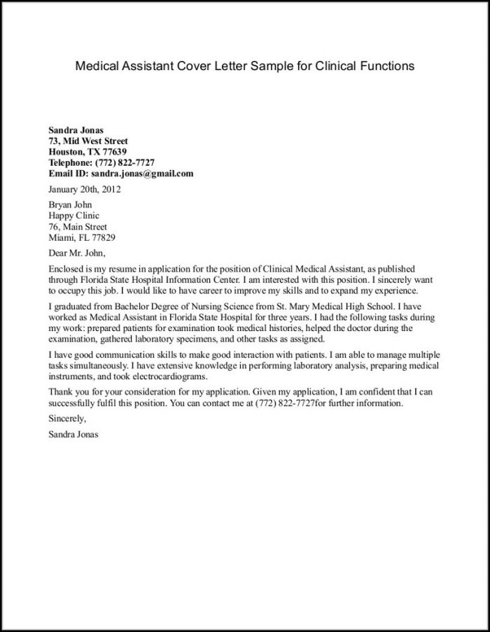 Cover Letter Template For Medical Office Assistant - Cover Letter