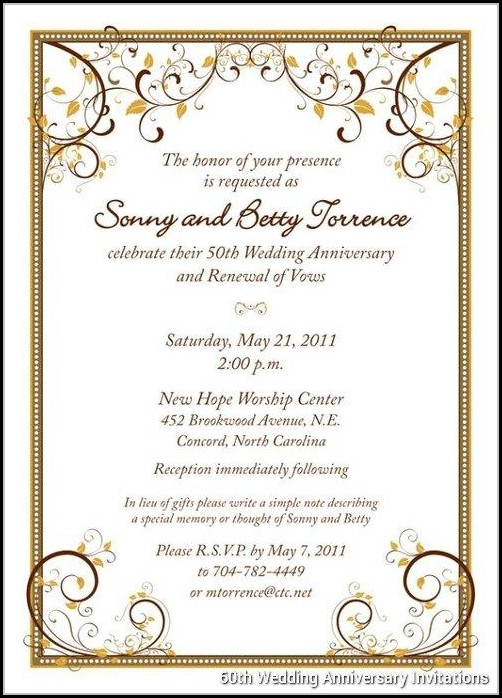 60th Wedding Anniversary Invitations Free Templates - Template 1