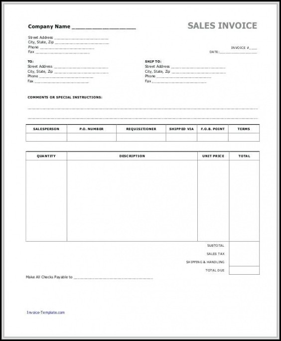 Blank Sales Invoice Template Free - Template 1  Resume Examples